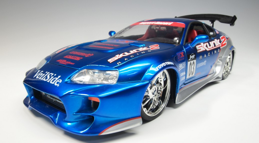 63354 d63354b Toyota Supra #03 metallic blue , silver Skunk 2 19 Andrew Racing V and 19 Bacarrot wheels by VeilSide